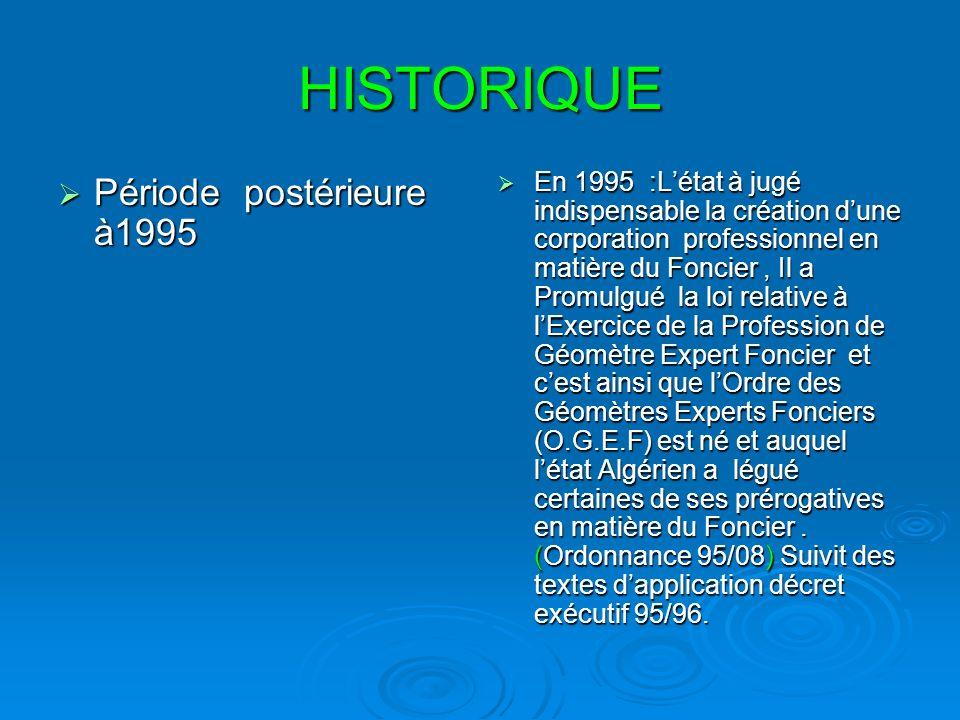 HISTORIQUE Période postérieure à1995