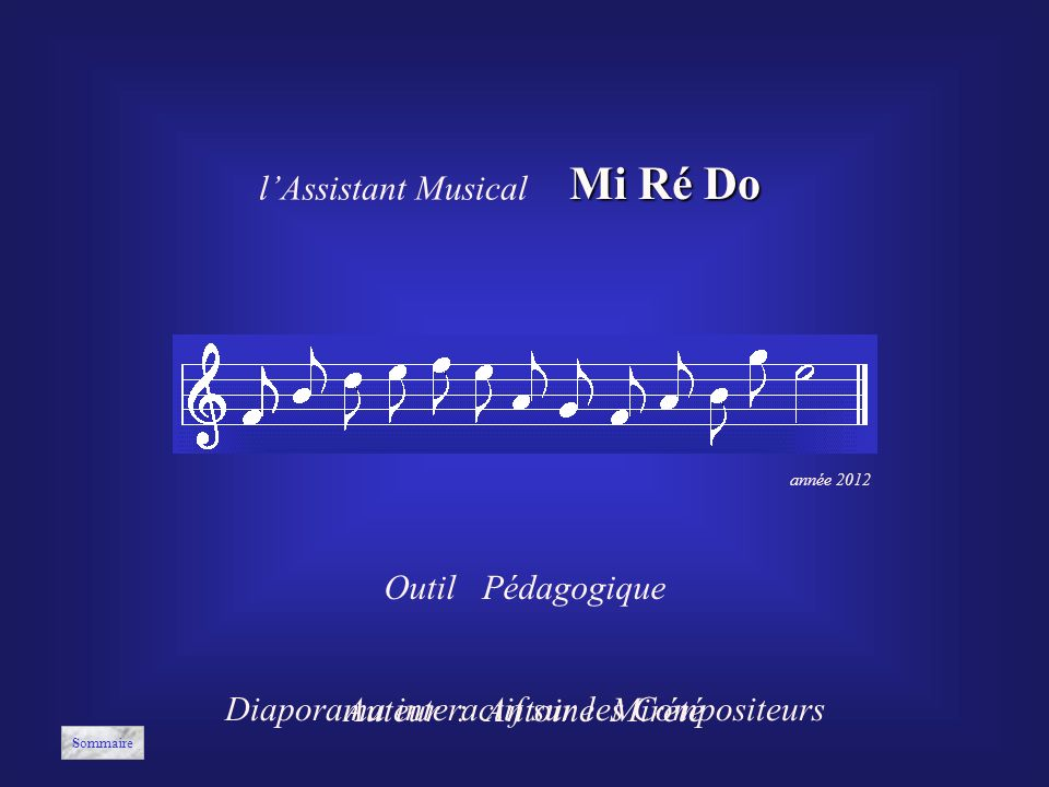 Mi Ré Do l'Assistant Musical Outil Pédagogique