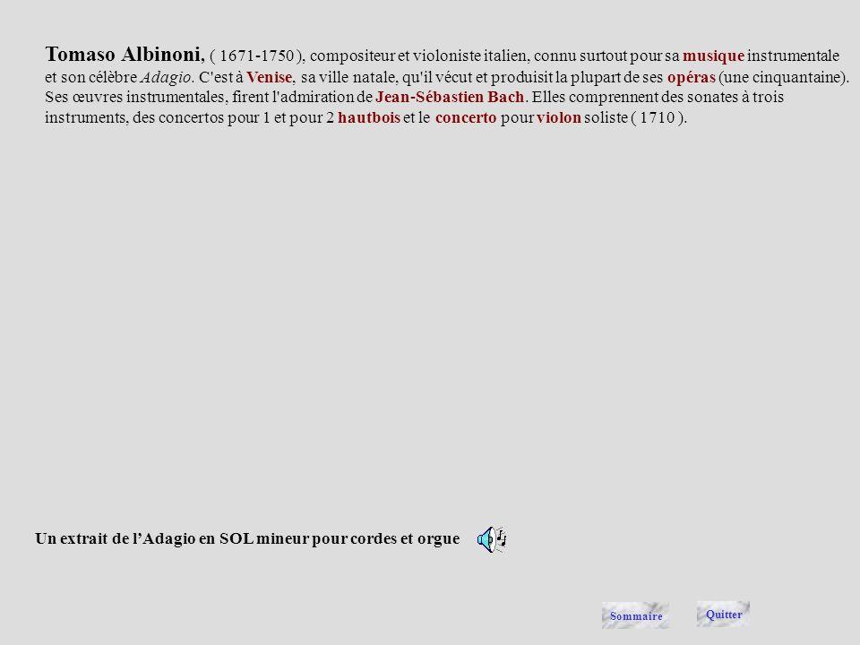 Un extrait de l'Adagio en SOL mineur pour cordes et orgue