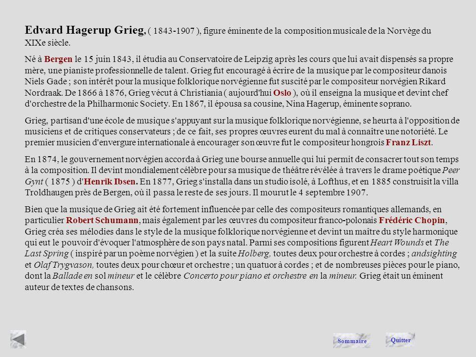 Edvard Hagerup Grieg, ( 1843-1907 ), figure éminente de la composition musicale de la Norvège du XIXe siècle.
