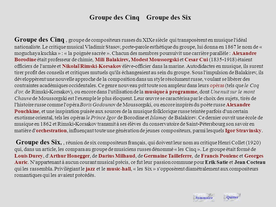 Groupe des Cinq Groupe des Six