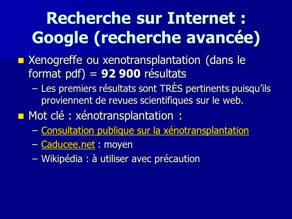 Recherche sur Internet : Google (recherche avancée)