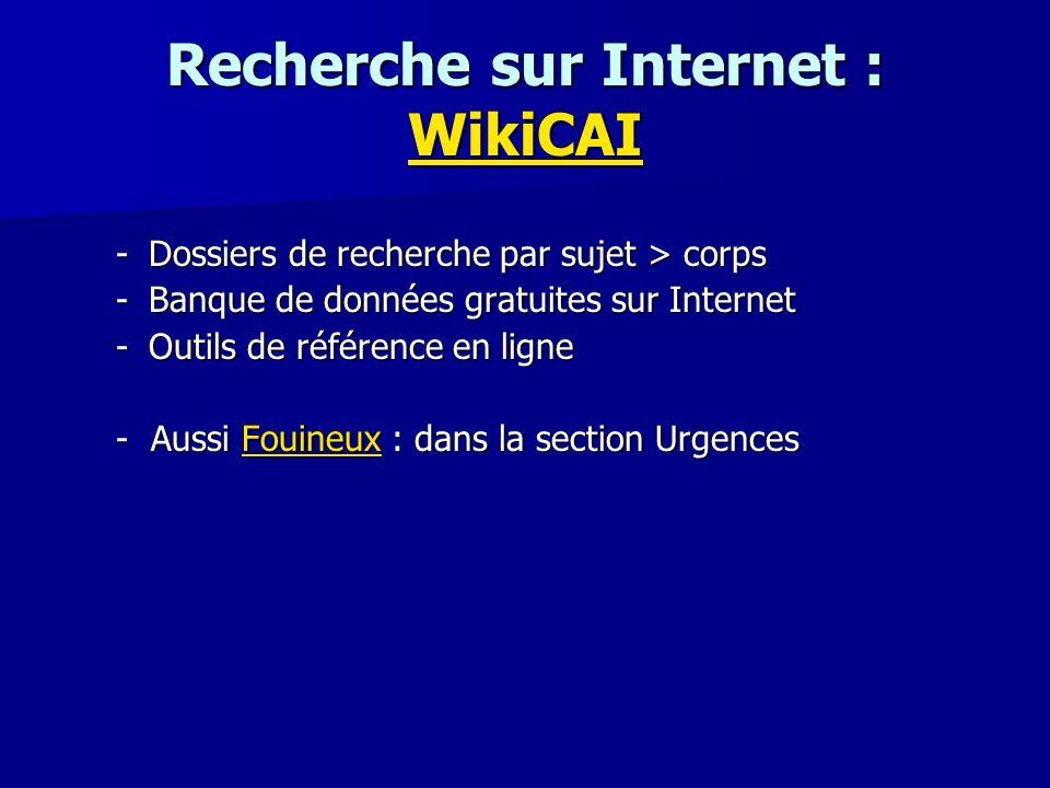 Recherche sur Internet : WikiCAI
