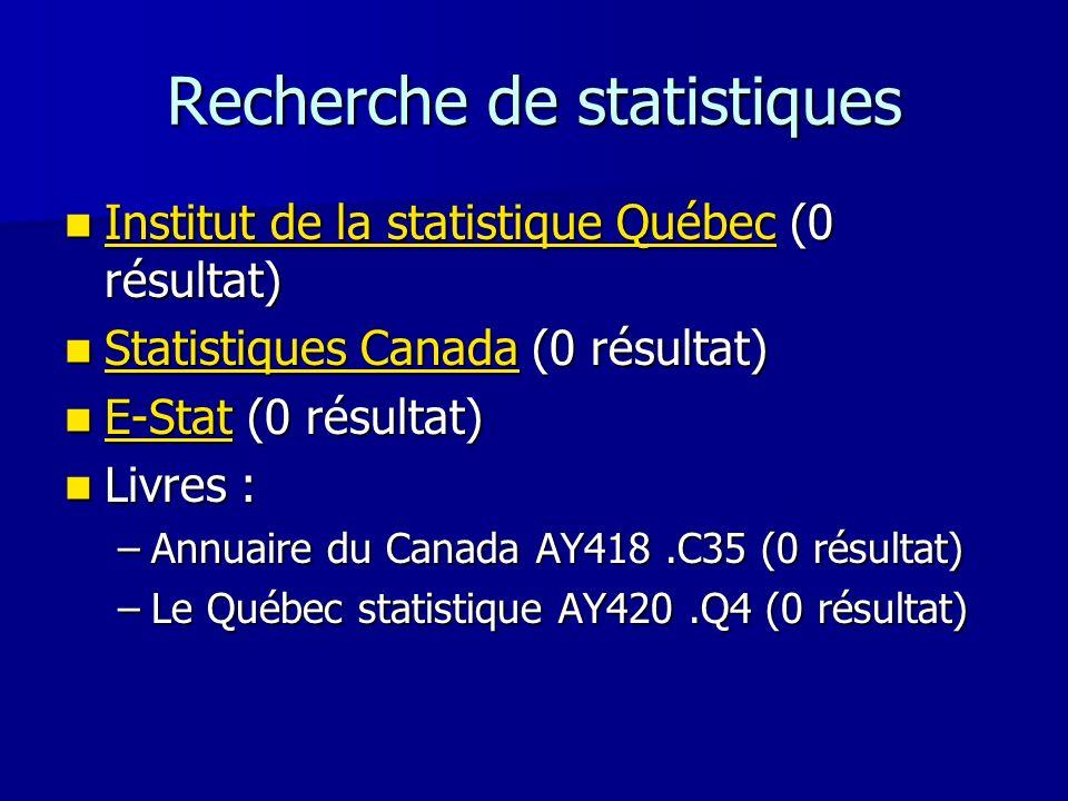 Recherche de statistiques