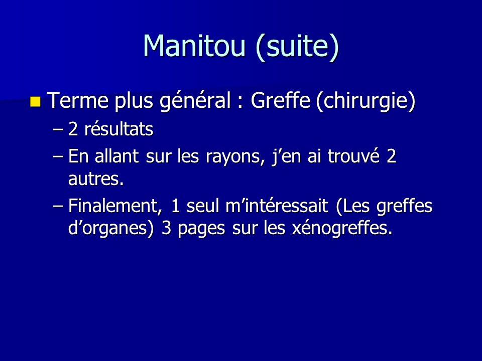 Manitou (suite) Terme plus général : Greffe (chirurgie) 2 résultats