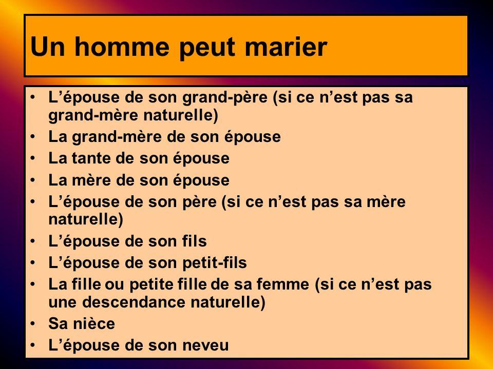Un homme peut marier L'épouse de son grand-père (si ce n'est pas sa grand-mère naturelle) La grand-mère de son épouse.