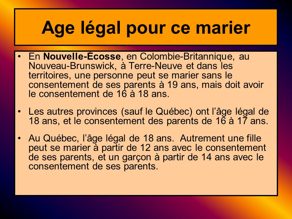 Age légal pour ce marier