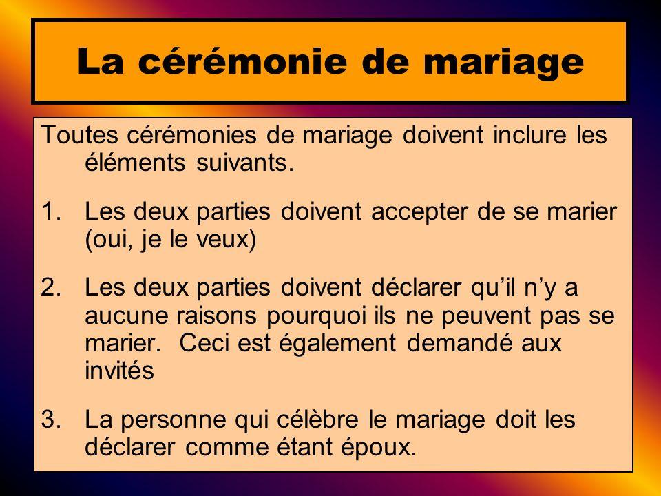 La cérémonie de mariage