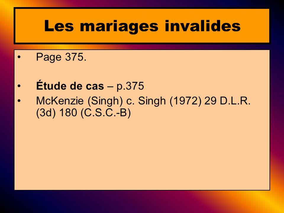 Les mariages invalides