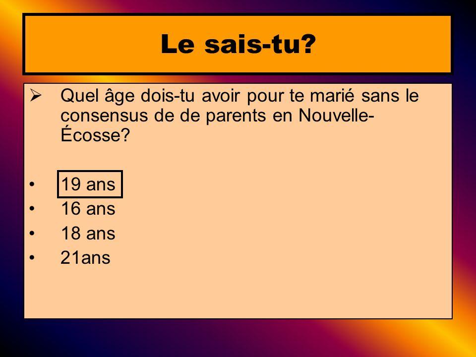 Le sais-tu Quel âge dois-tu avoir pour te marié sans le consensus de de parents en Nouvelle-Écosse