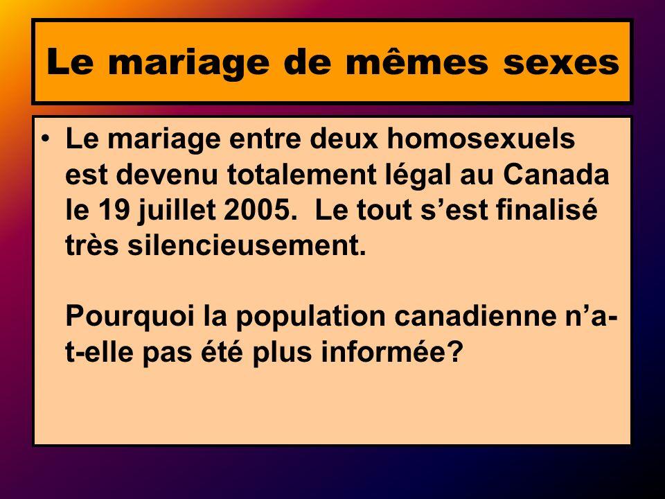 Le mariage de mêmes sexes