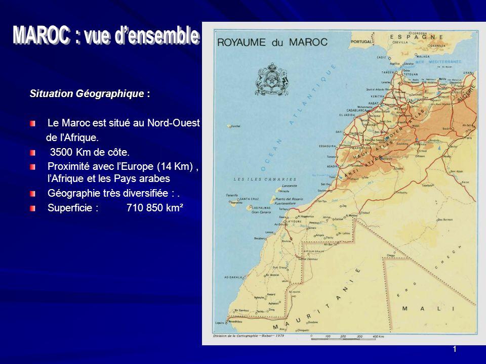MAROC : vue d'ensemble Situation Géographique :