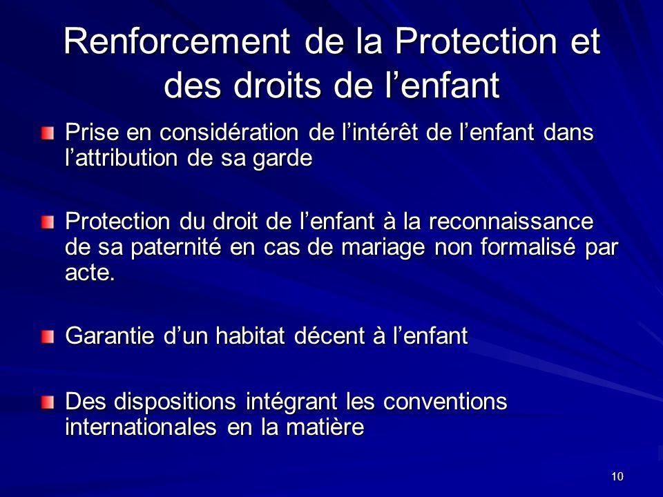 Renforcement de la Protection et des droits de l'enfant