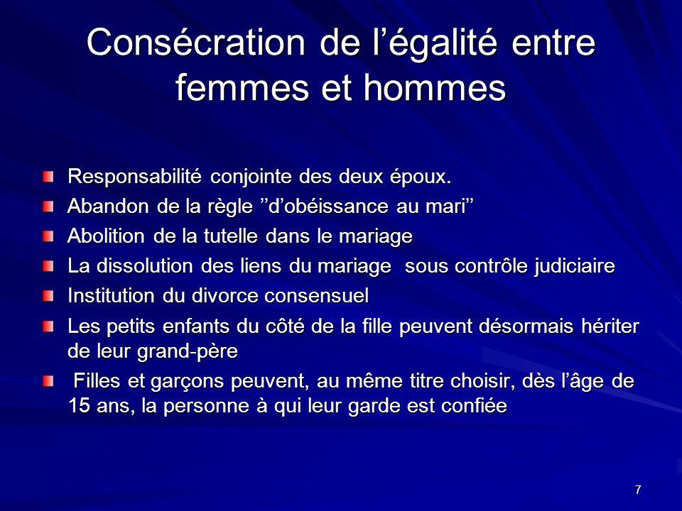 Consécration de l'égalité entre femmes et hommes