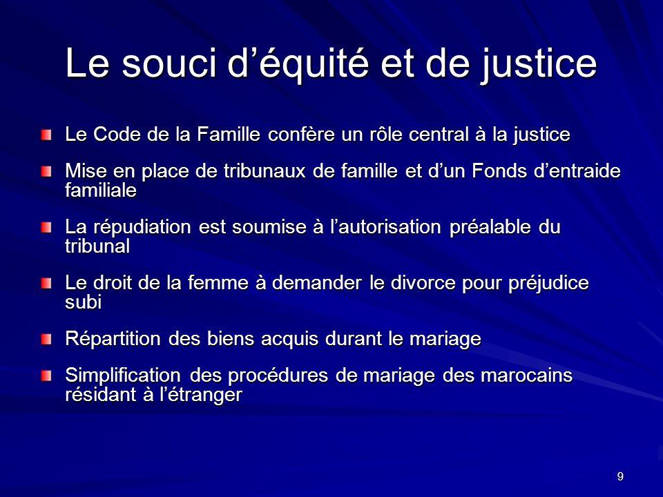 Le souci d'équité et de justice