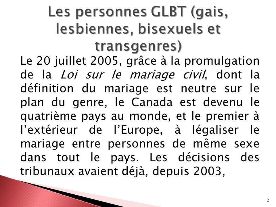 Les personnes GLBT (gais, lesbiennes, bisexuels et transgenres)