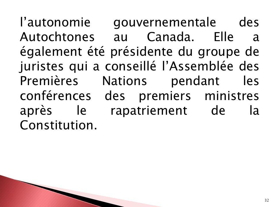 l'autonomie gouvernementale des Autochtones au Canada