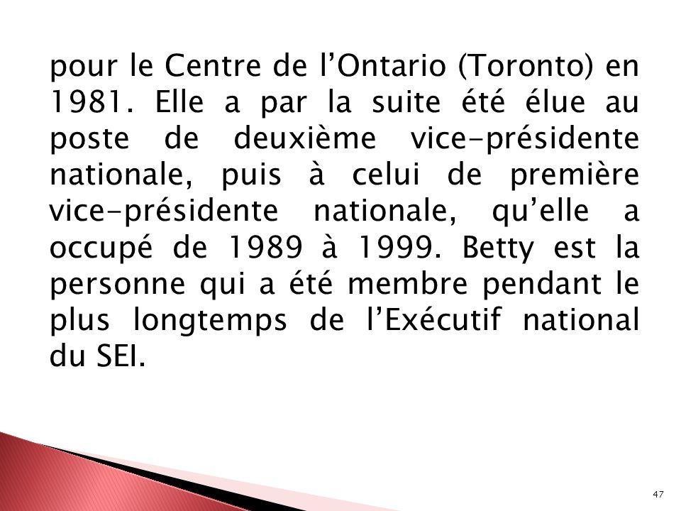 pour le Centre de l'Ontario (Toronto) en 1981