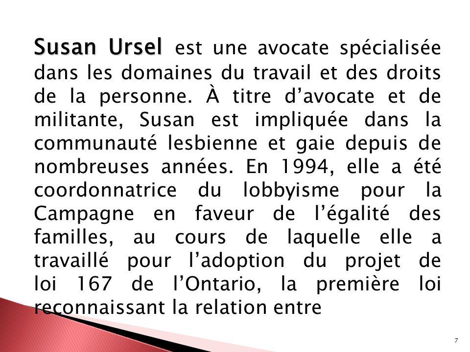 Susan Ursel est une avocate spécialisée dans les domaines du travail et des droits de la personne.