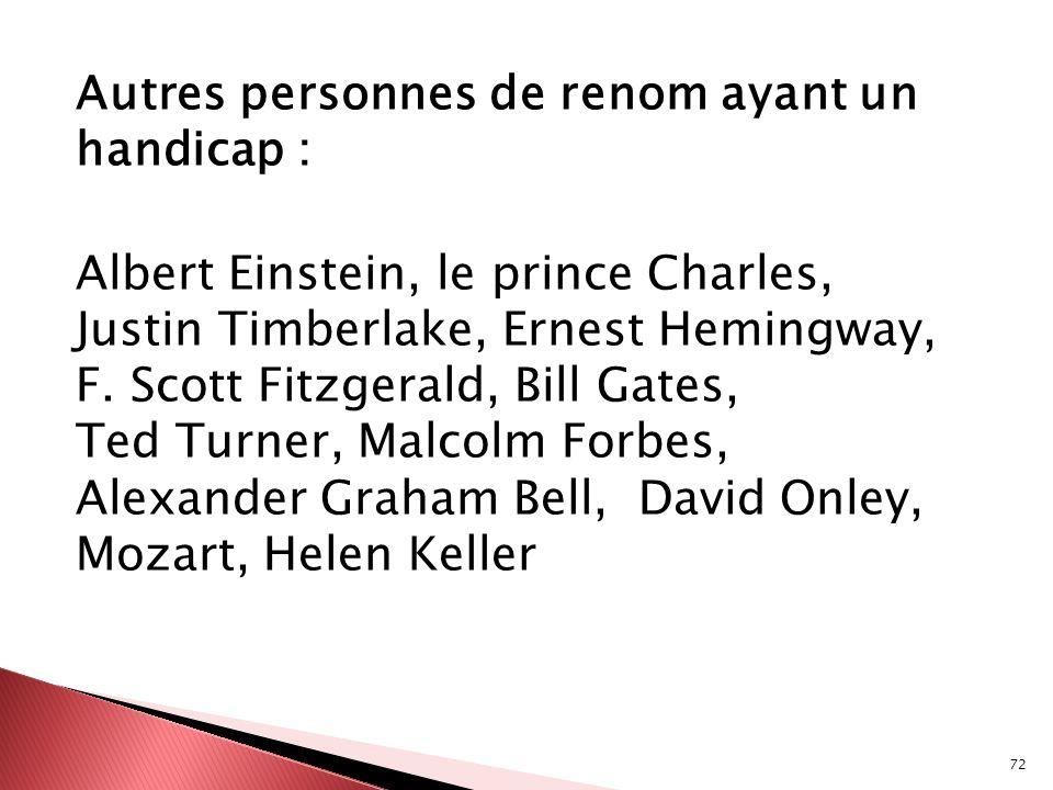 Autres personnes de renom ayant un handicap : Albert Einstein, le prince Charles, Justin Timberlake, Ernest Hemingway, F.