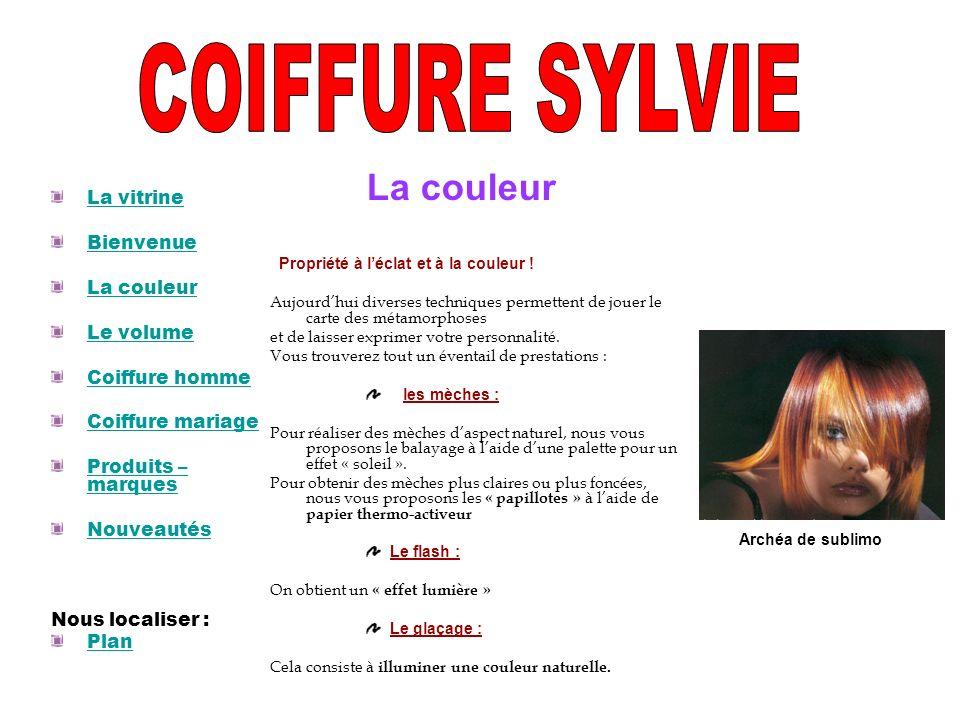 COIFFURE SYLVIE La couleur La vitrine Bienvenue La couleur Le volume
