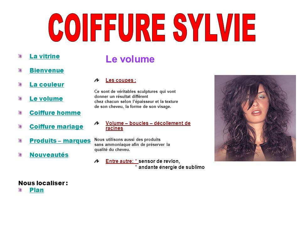 COIFFURE SYLVIE Le volume La vitrine Bienvenue La couleur Le volume