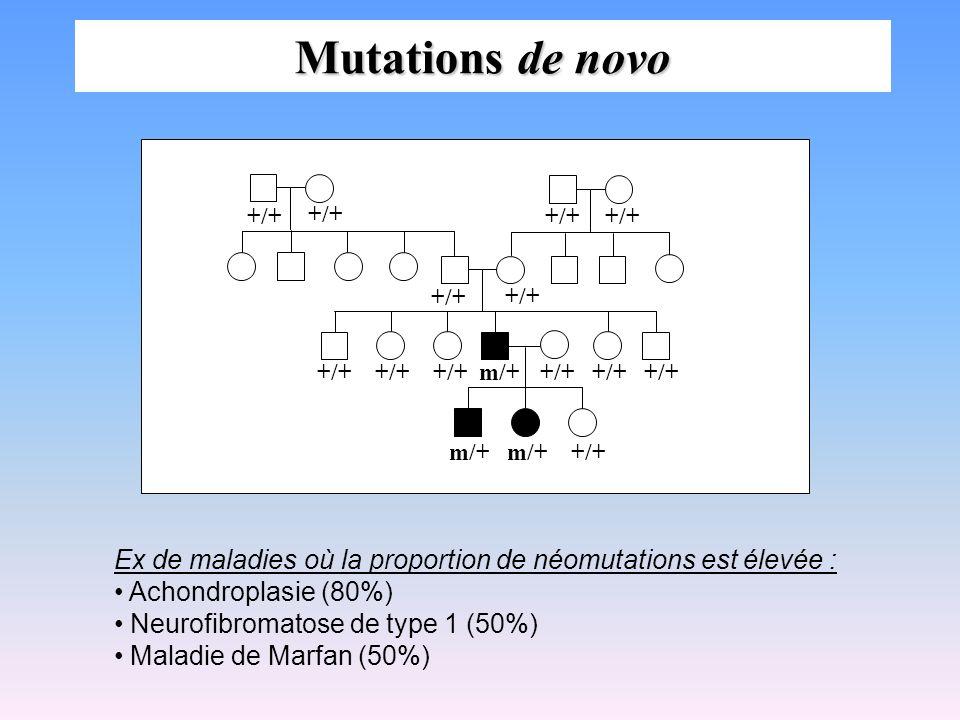 Mutations de novo +/+ m/+ Ex de maladies où la proportion de néomutations est élevée : Achondroplasie (80%)