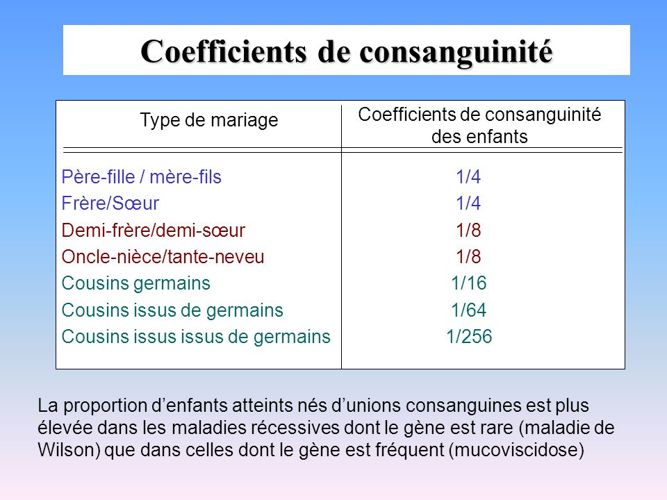 Coefficients de consanguinité
