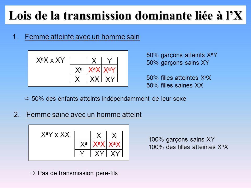 Lois de la transmission dominante liée à l'X