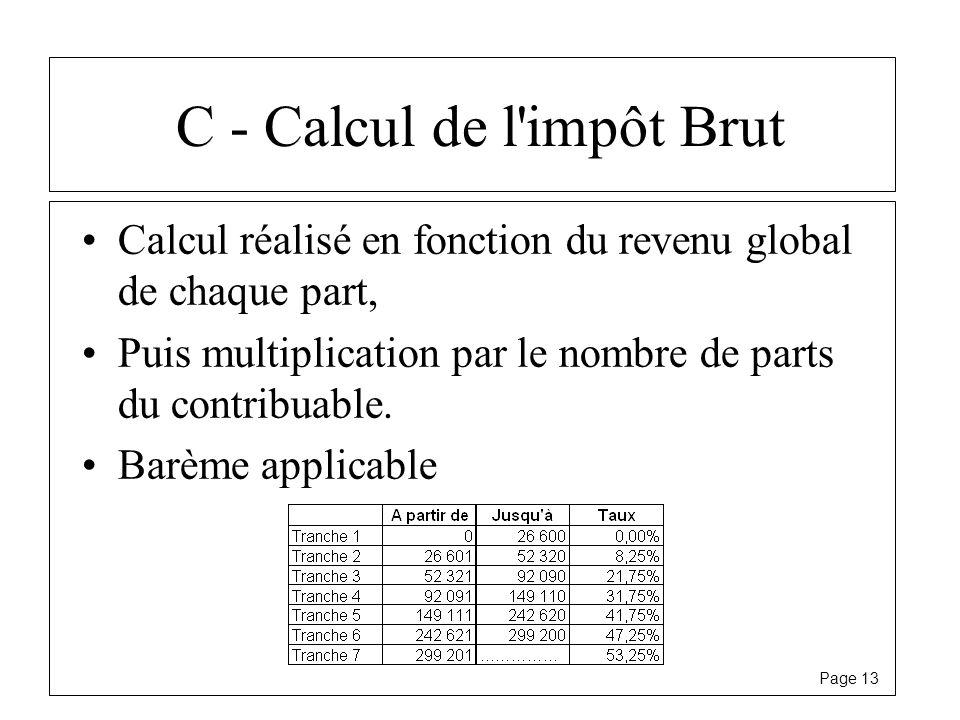 C - Calcul de l impôt Brut
