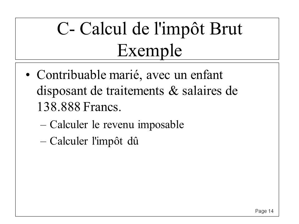 C- Calcul de l impôt Brut Exemple