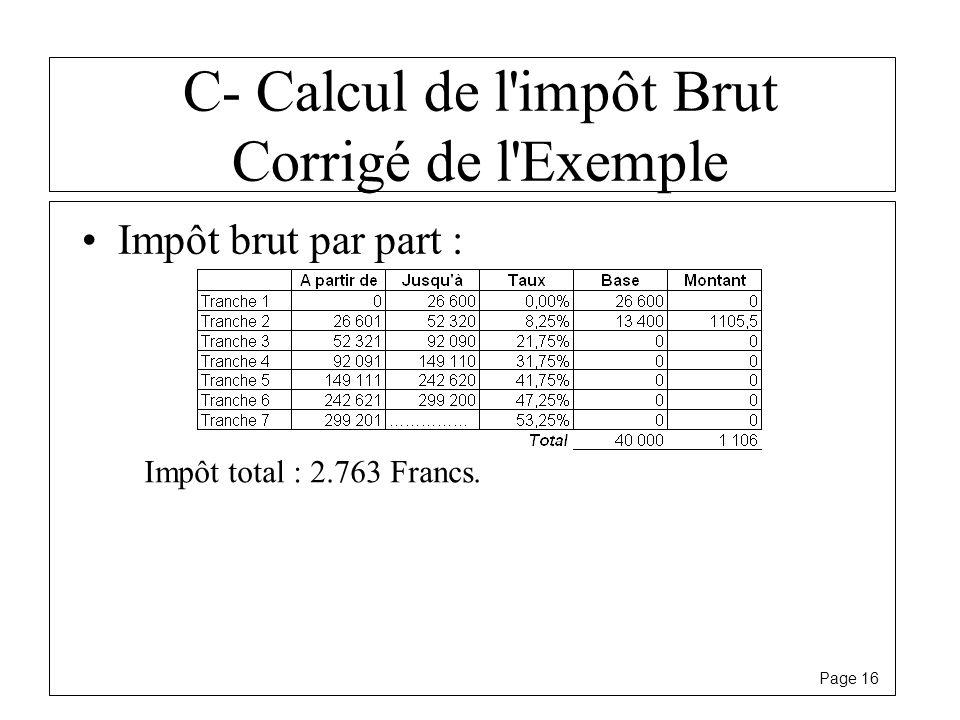 C- Calcul de l impôt Brut Corrigé de l Exemple