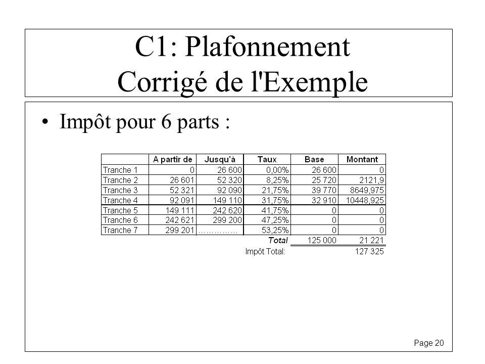 C1: Plafonnement Corrigé de l Exemple