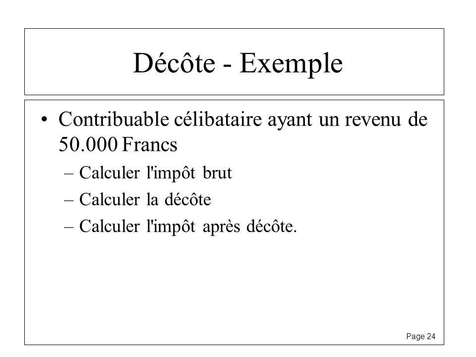 Décôte - Exemple Contribuable célibataire ayant un revenu de 50.000 Francs. Calculer l impôt brut.