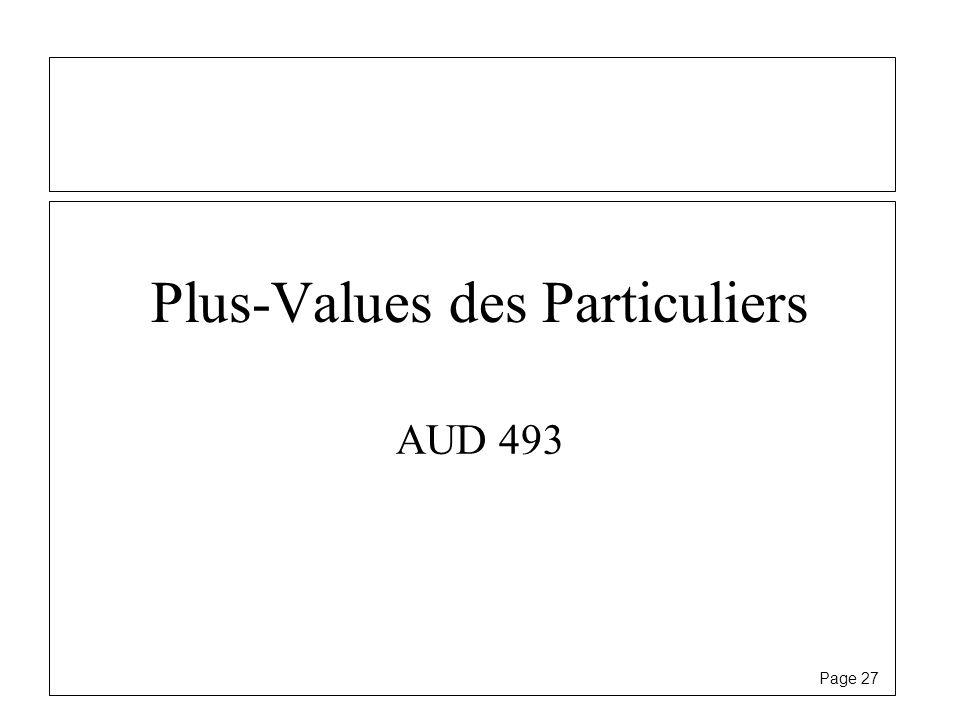 Plus-Values des Particuliers
