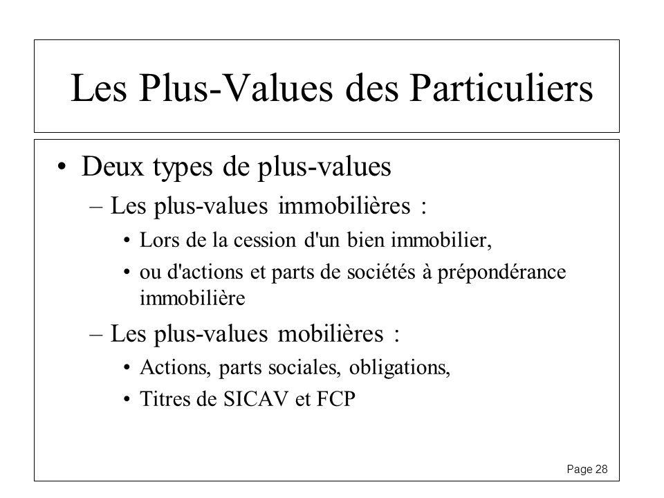 Les Plus-Values des Particuliers