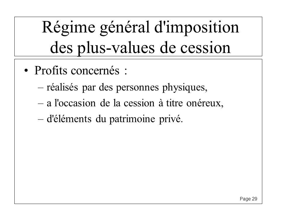 Régime général d imposition des plus-values de cession