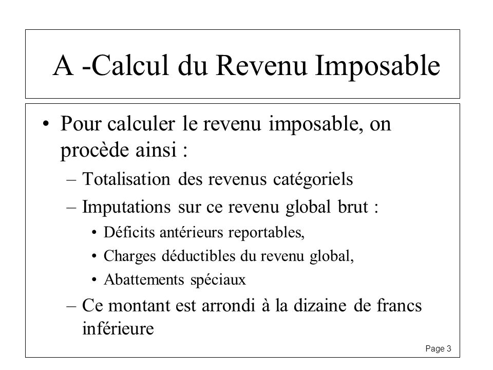 A -Calcul du Revenu Imposable