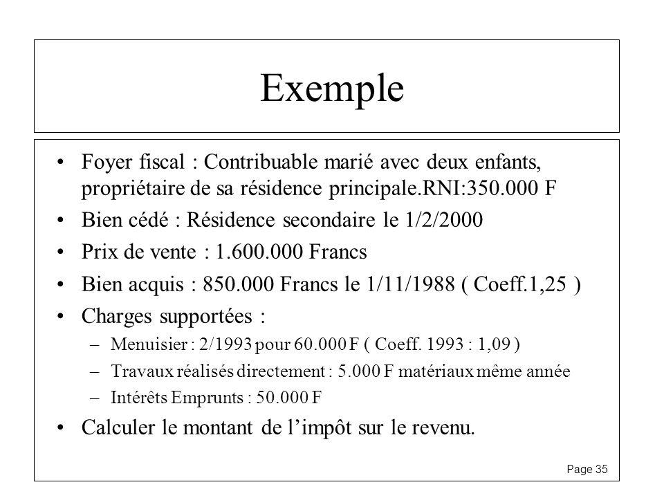 Exemple Foyer fiscal : Contribuable marié avec deux enfants, propriétaire de sa résidence principale.RNI:350.000 F.