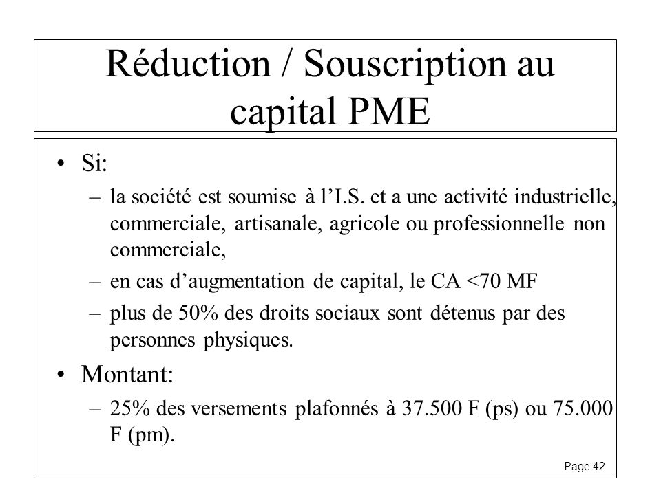 Réduction / Souscription au capital PME