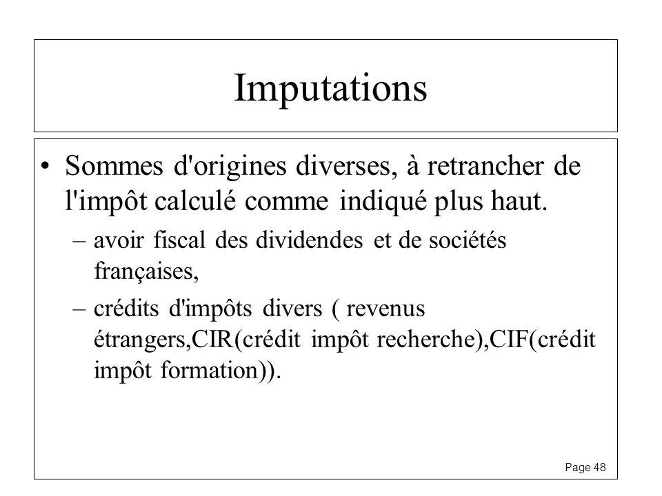 Imputations Sommes d origines diverses, à retrancher de l impôt calculé comme indiqué plus haut.