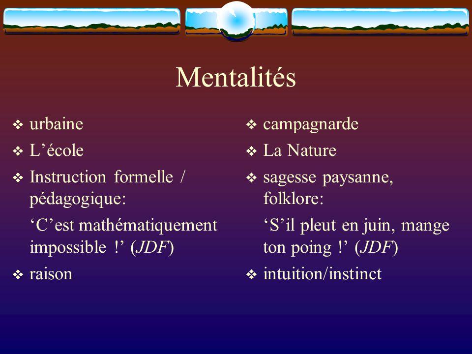 Mentalités urbaine L'école Instruction formelle / pédagogique: