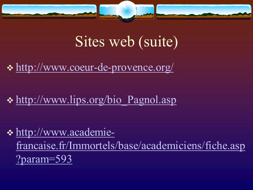 Sites web (suite) http://www.coeur-de-provence.org/