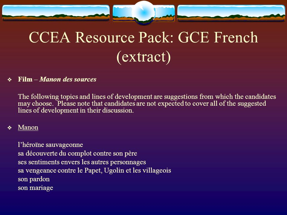 CCEA Resource Pack: GCE French (extract)