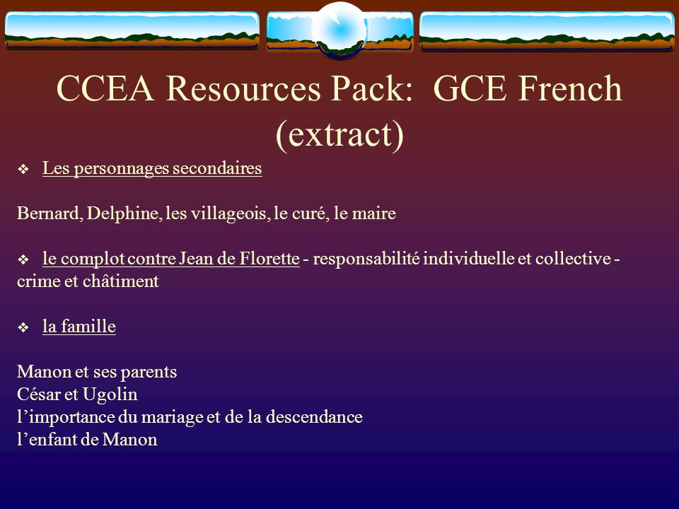 CCEA Resources Pack: GCE French (extract)