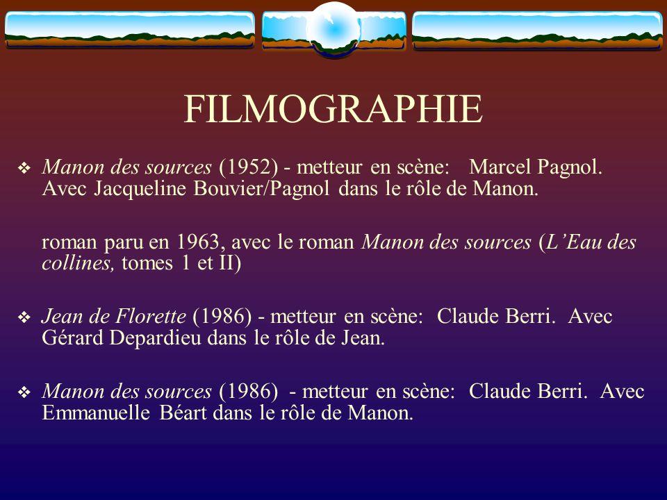 FILMOGRAPHIE Manon des sources (1952) - metteur en scène: Marcel Pagnol. Avec Jacqueline Bouvier/Pagnol dans le rôle de Manon.