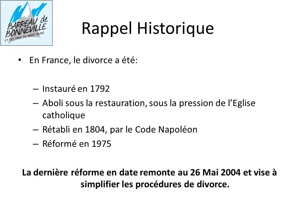 Rappel Historique En France, le divorce a été: Instauré en 1792