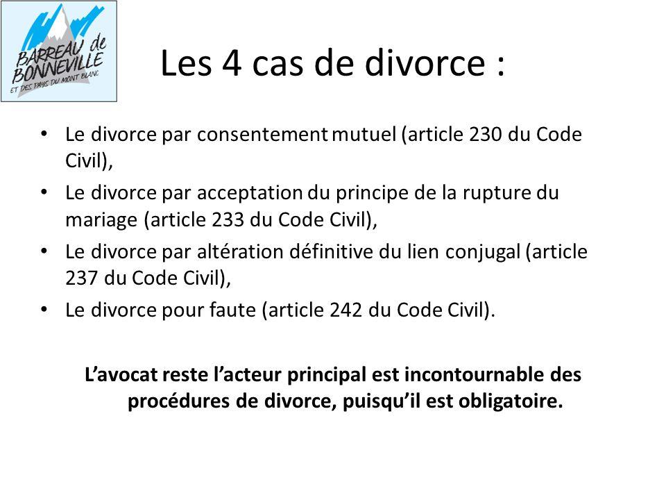 Les 4 cas de divorce : Le divorce par consentement mutuel (article 230 du Code Civil),