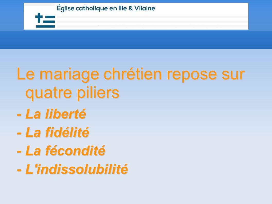 Le mariage chrétien repose sur quatre piliers