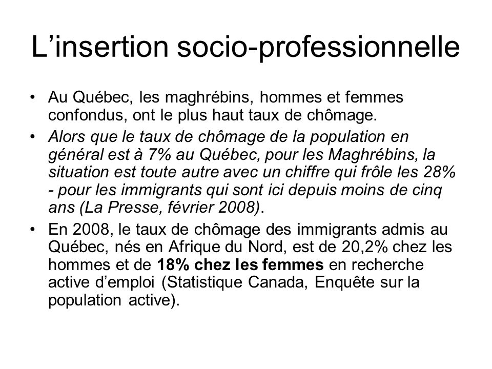 L'insertion socio-professionnelle